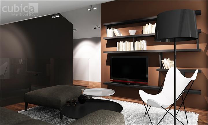 Návrh interiéru domu nad jazerom - Vrchná chodba s TV