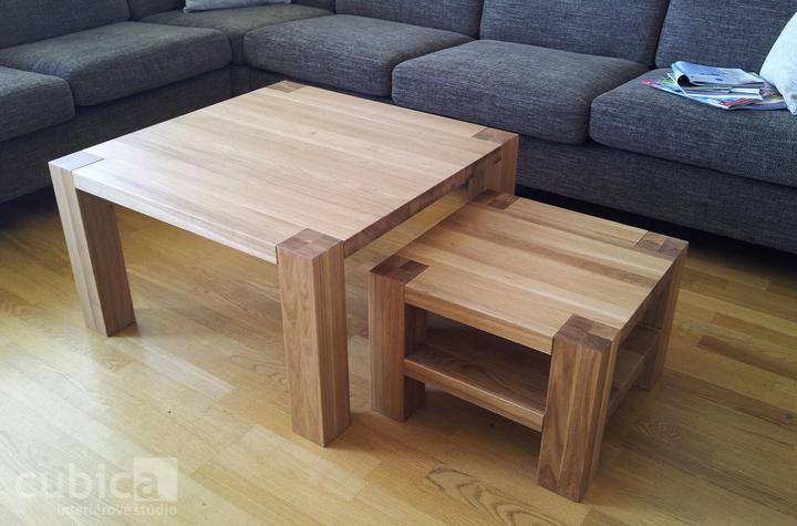 Dizajn a výroba nábytku na mieru Cubica - Konferenčný stolík z masívneho dubového dreva/výroba Cubica