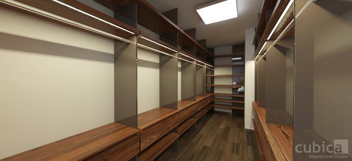 Návrh interiéru rodinného domu - Návrh interiéru spálne so šatníkom