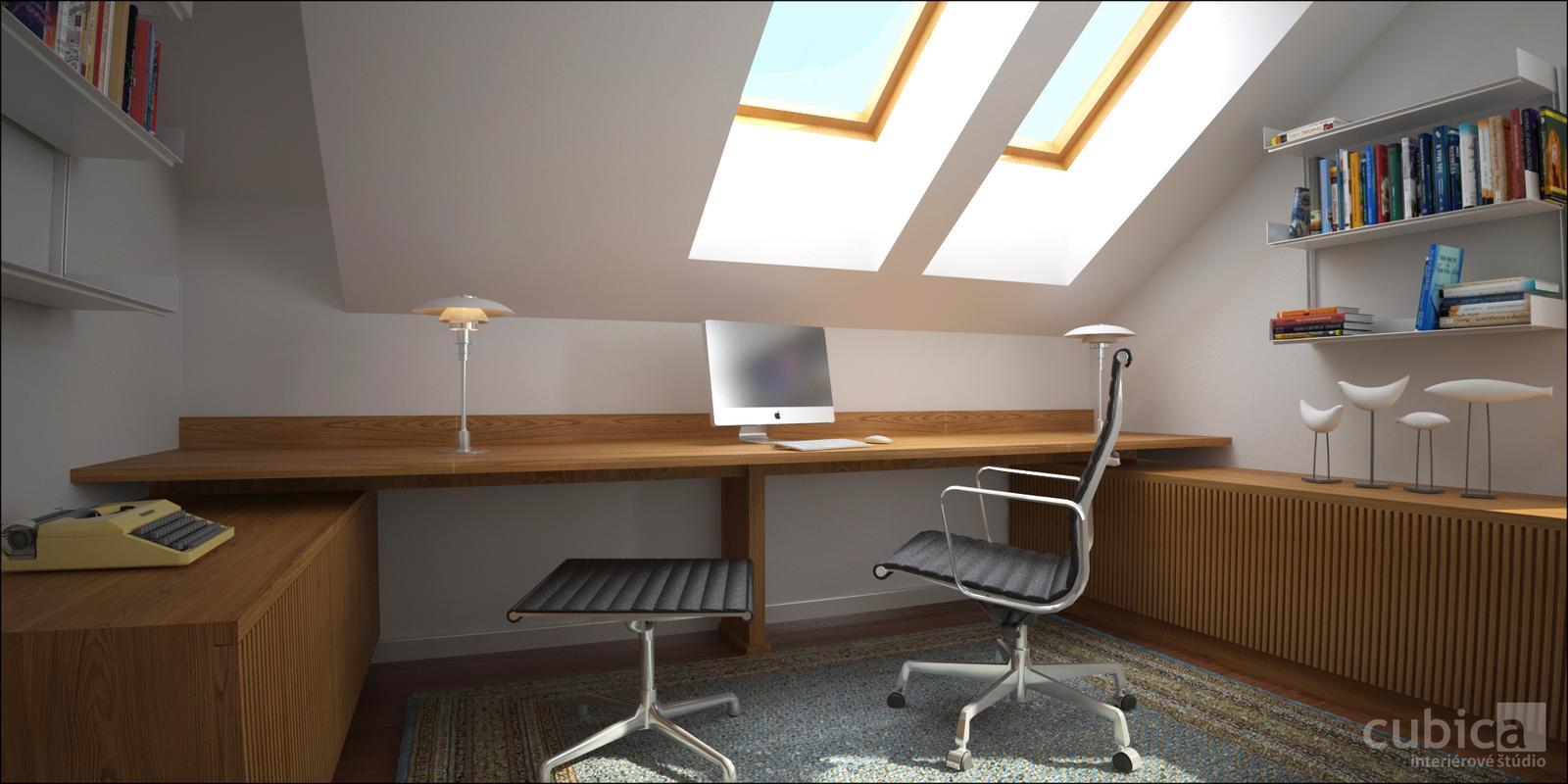 Návrh interiéru domácej pracovne - pracovňa - interier