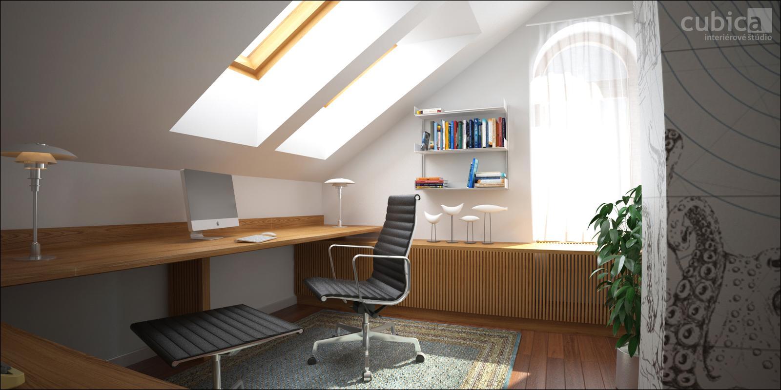 Návrh interiéru domácej pracovne - domáca pracovňa - interiérový dizajn