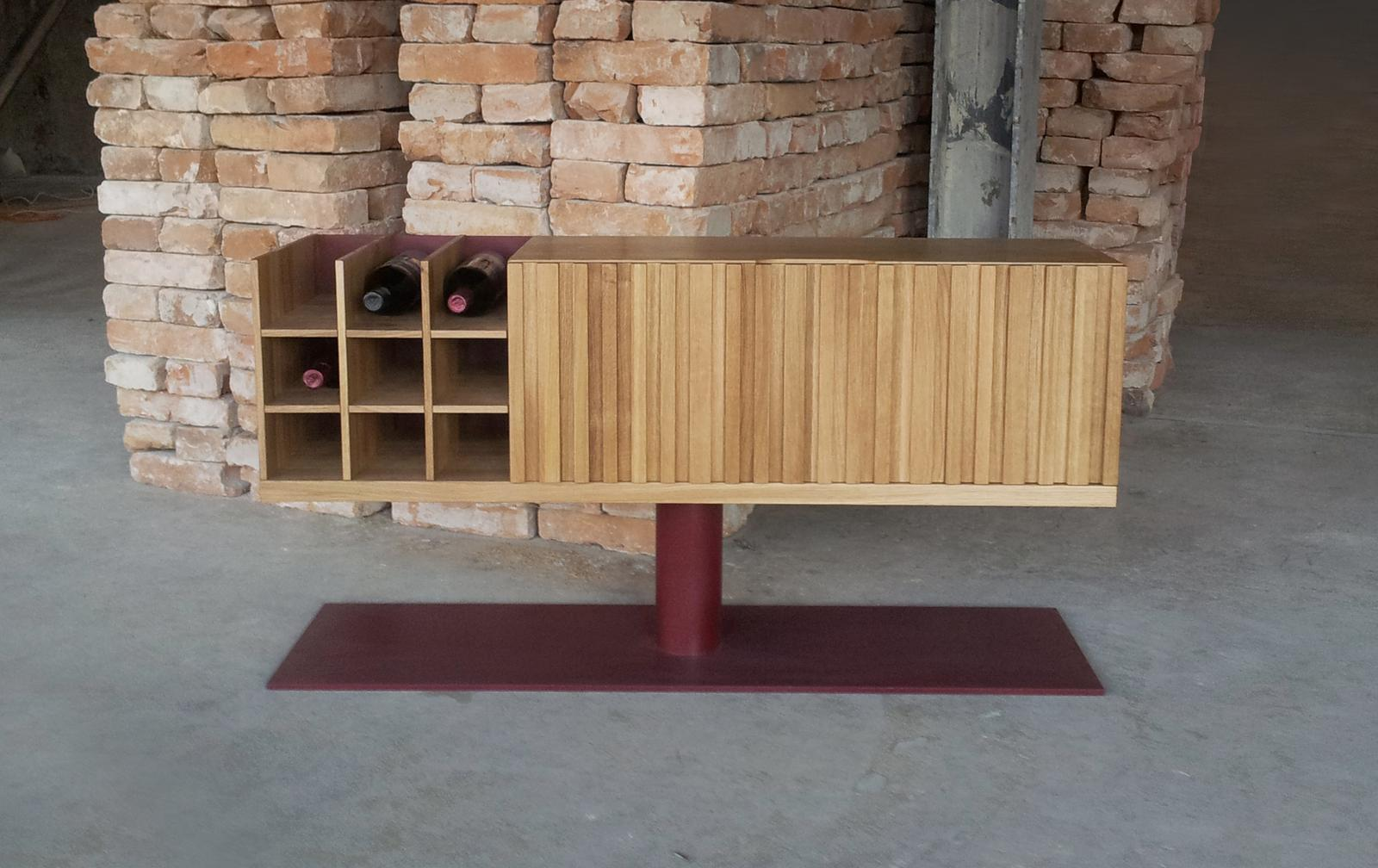 Dizajn a výroba nábytku na mieru Cubica - Skrinka vine box - masívny prírodný dub - dizajn a výroba cubica