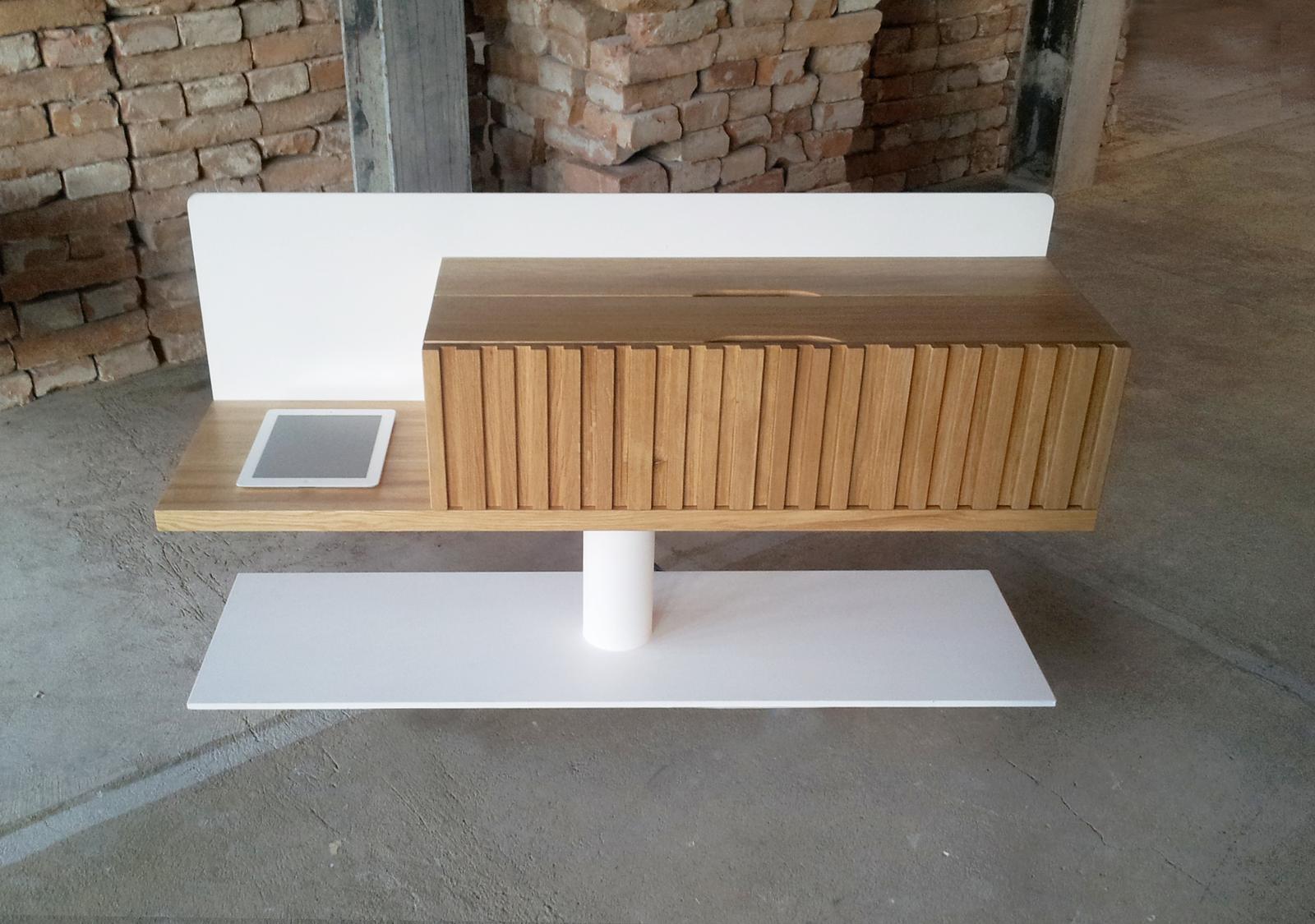 Dizajn a výroba nábytku na mieru Cubica - Skrinka media box - masívny prírodný dub - dizajn a výroba cubica
