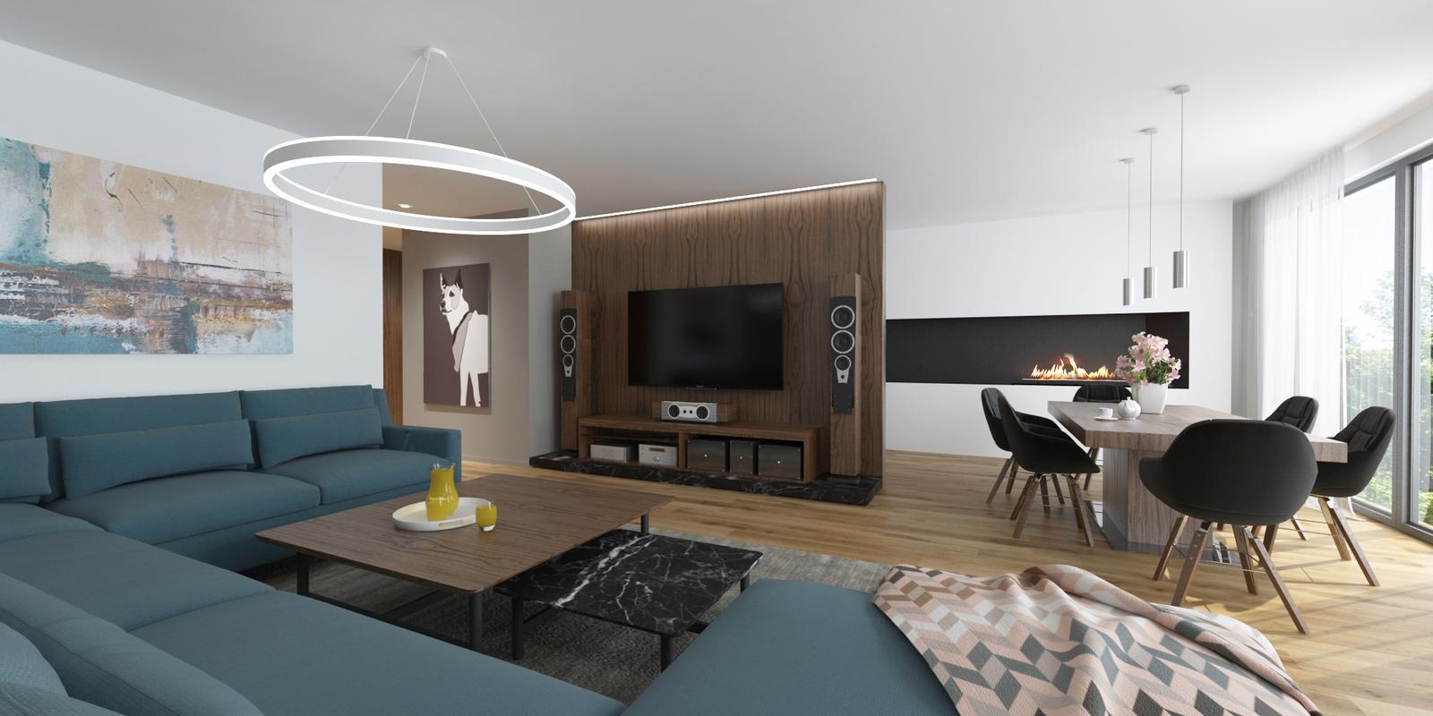 Návrh interiéru bytu - Interiér bytu v orechovom prevedení - obývacia izba s jedálňou