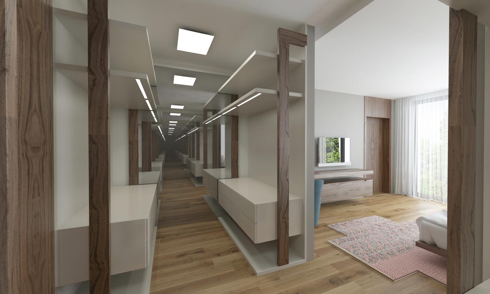 Návrh interiéru bytu - Interiér bytu v orechovom prevedení - šatník v rodičovskej spálni