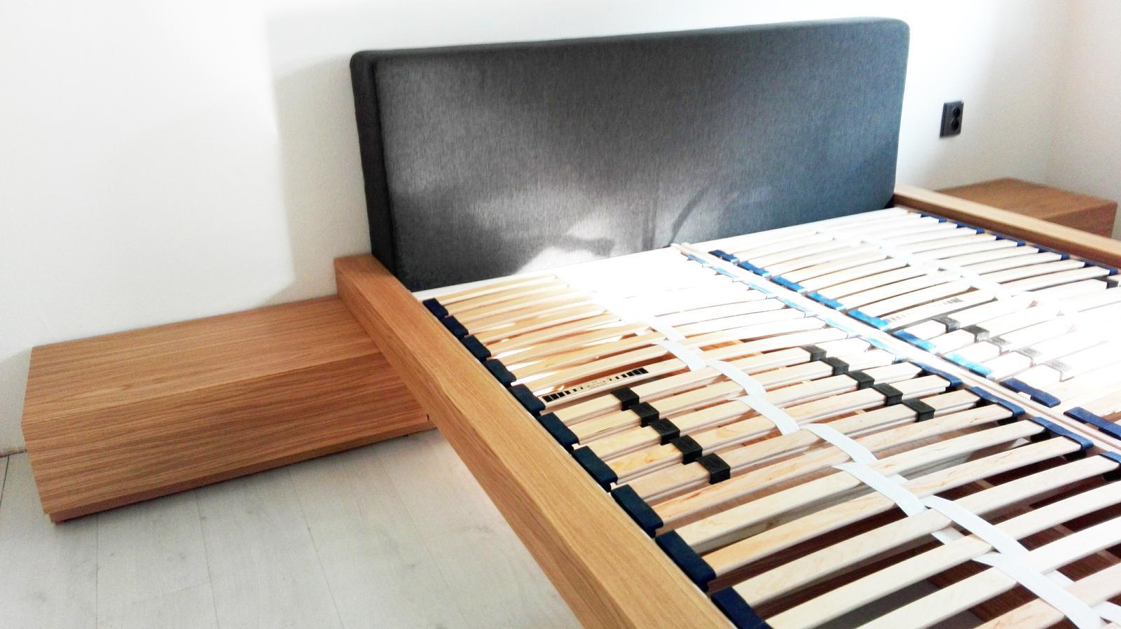 Dizajn a výroba nábytku na mieru Cubica - Posteľ WAY - dýha dub + čalúnené čelo. Design&Výroba Cubica