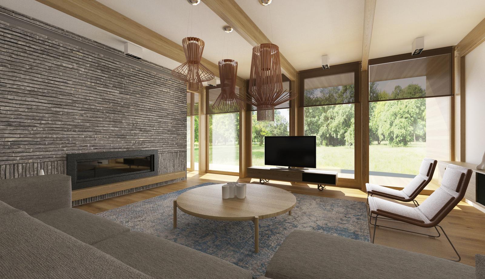 Návrh interiéru modernej drevostavby - Návrh interiéru obývacej izby s krbom. Cubica interiérové štúdio