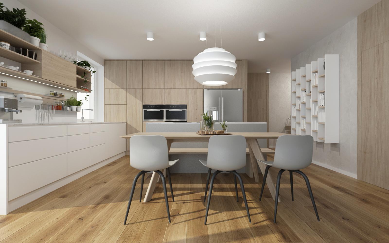 Realizácia interiéru podľa návrhu - Navrh interieru kuchyne s jedálňou