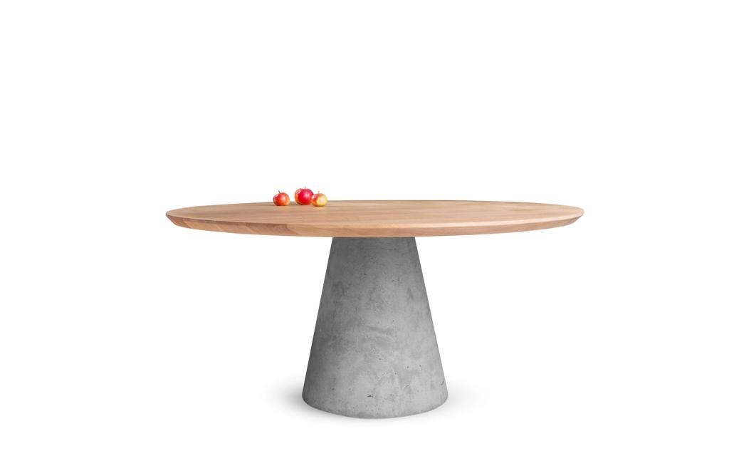 Jedálenský stôl TAP - masívny dub/beton - Obrázok č. 1