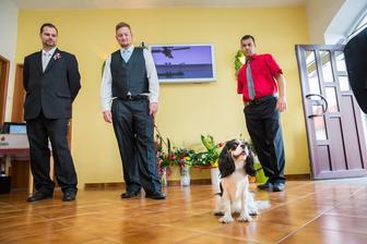 naše malá na focení nesměla chybět aneb Ennča a tři bodyguardi :D Luki v červené košili nám vozil svatebčany do šesti do rána, je to prostě kamarád s velkým K :)