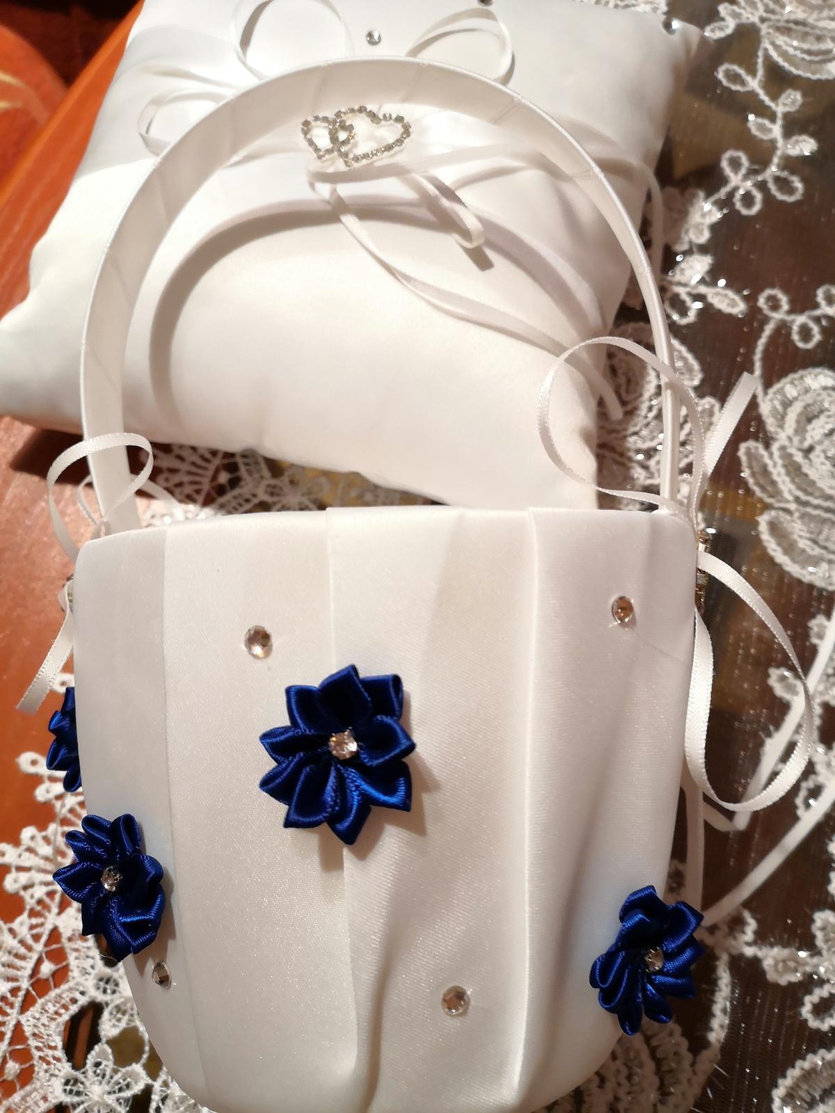 Košik na lupienky bielo  kráľovský -modry - Obrázok č. 2