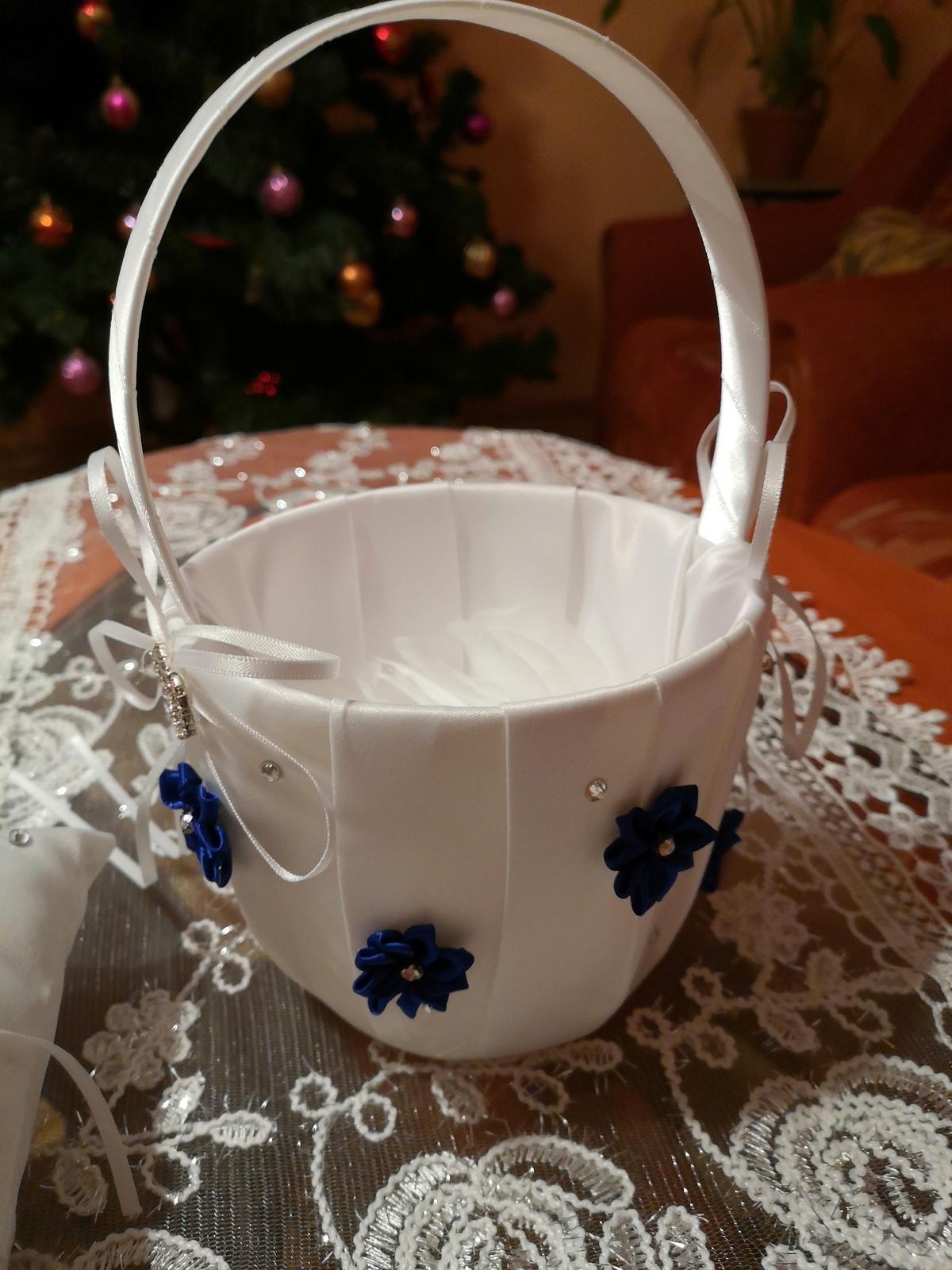 Košik na lupienky bielo  kráľovský -modry - Obrázok č. 3