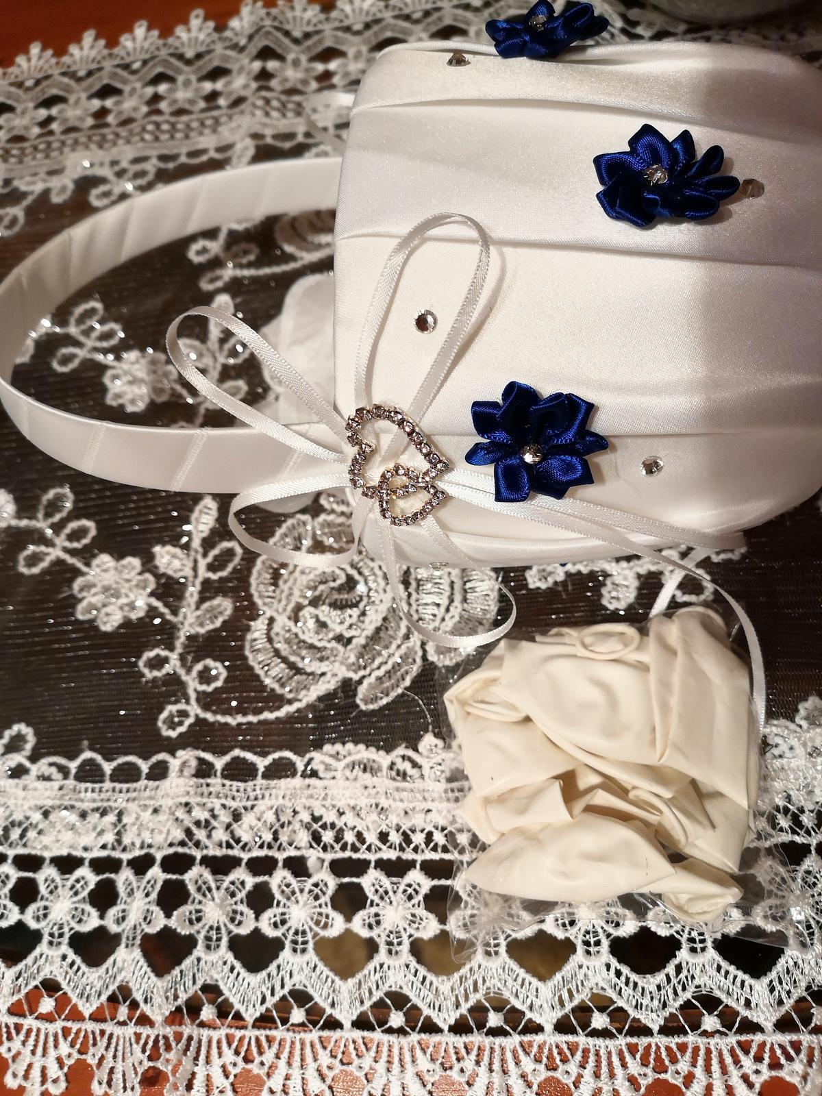 Košik na lupienky bielo  kráľovský -modry - Obrázok č. 4