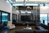 TV stena dub gladstone / koža / sklo stopsol / fazetované šedé zrkadlá