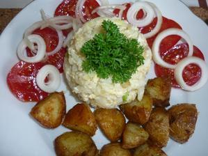 dnes k obědu ....květákový mozeček a nové opečené brambory