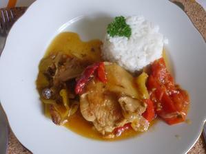 vodňanské kuře na kari a zelenině - rychlý dnešní oběd
