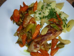 dneska pečené paličky na kari se zeleninou