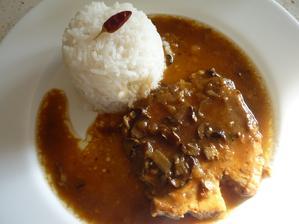 kotleta na houbách s rýží