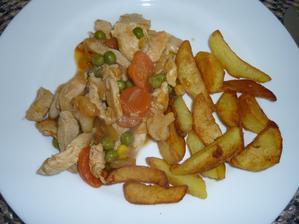 prsa na zelenině s opečeným bramborem