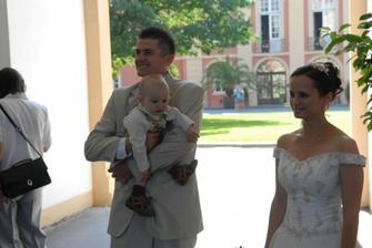 My ( Já, Jirka a náš Jiříček ) před obřadem.