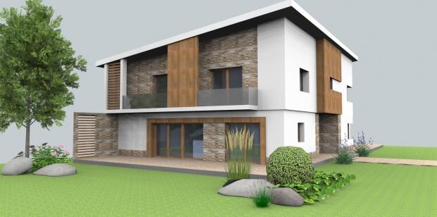 bruncak - Návrh fasády rodinného domu s návrhom terasy a balkonu