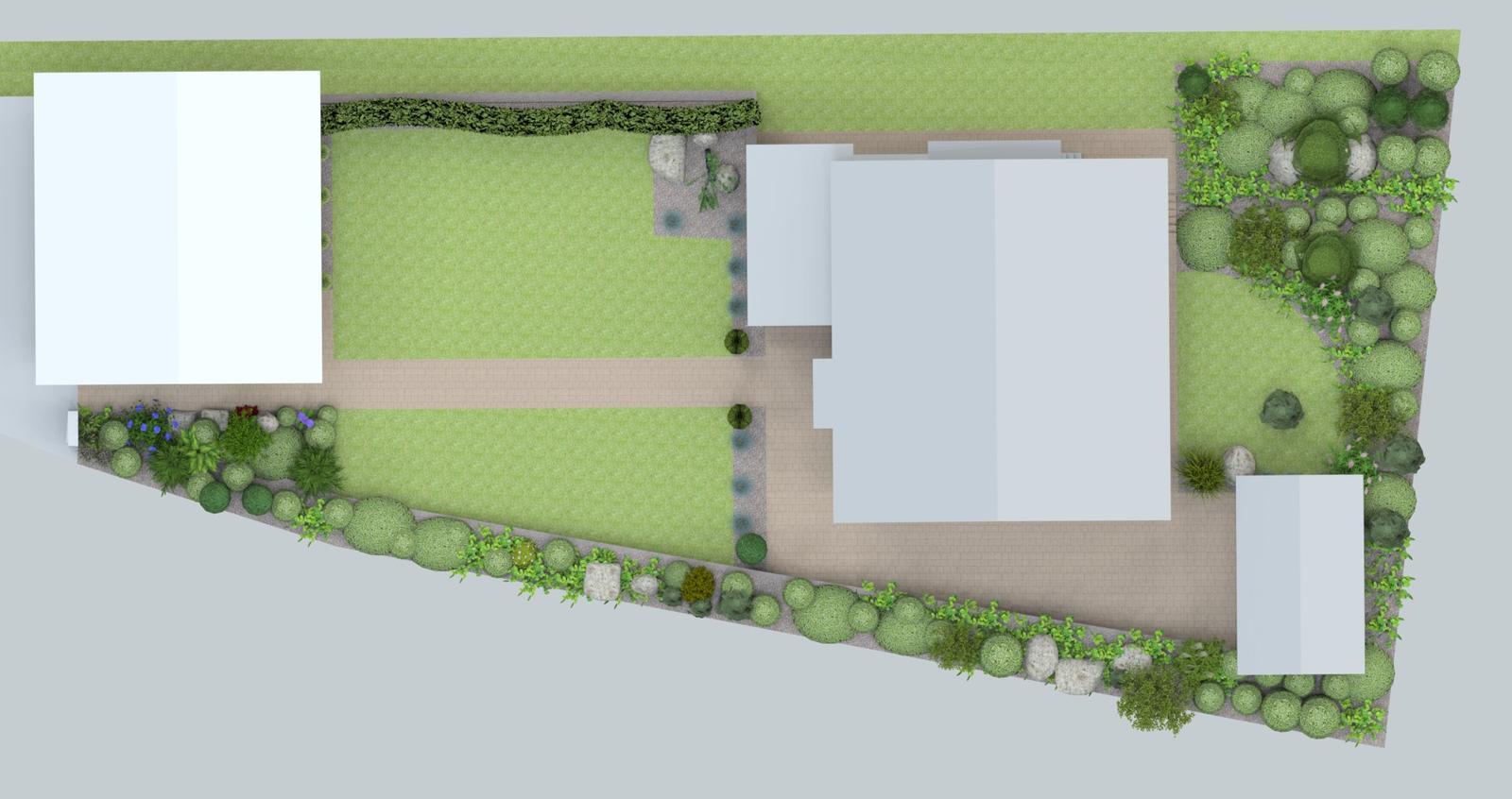 Prebiehajuce projekty - Návrh záhrady rodinného domu pri Žiline
