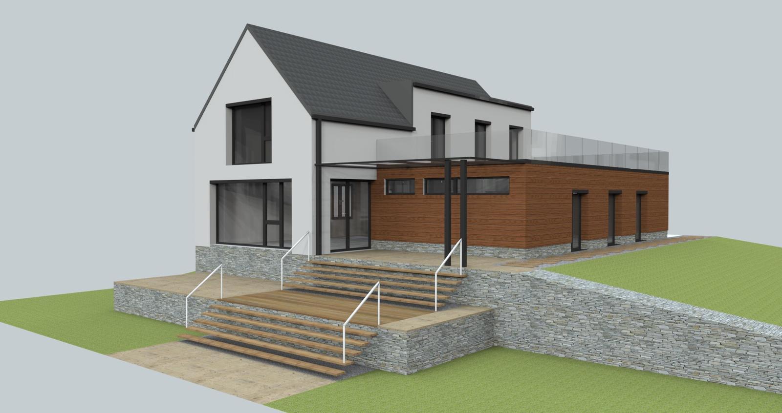 Prebiehajuce projekty - Návrh fasády a fasádnych prvkov novostavby.