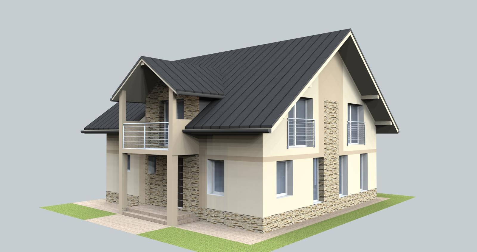 Prebiehajuce projekty - Jeden z návrhov fasády rodinného domu