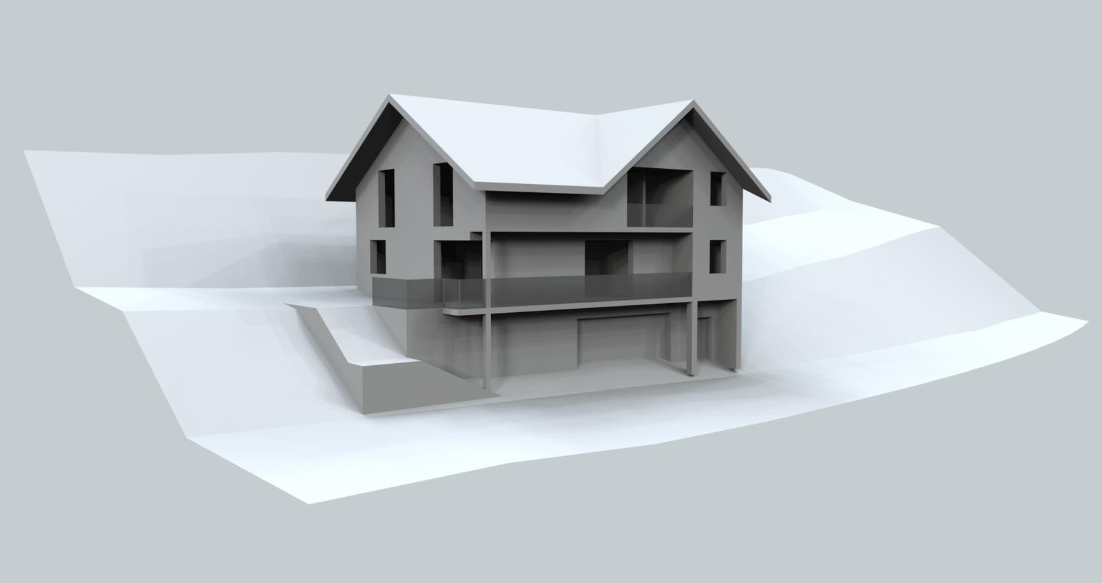 Prebiehajuce projekty - Návrh rodinného domu v prudkom svahu.