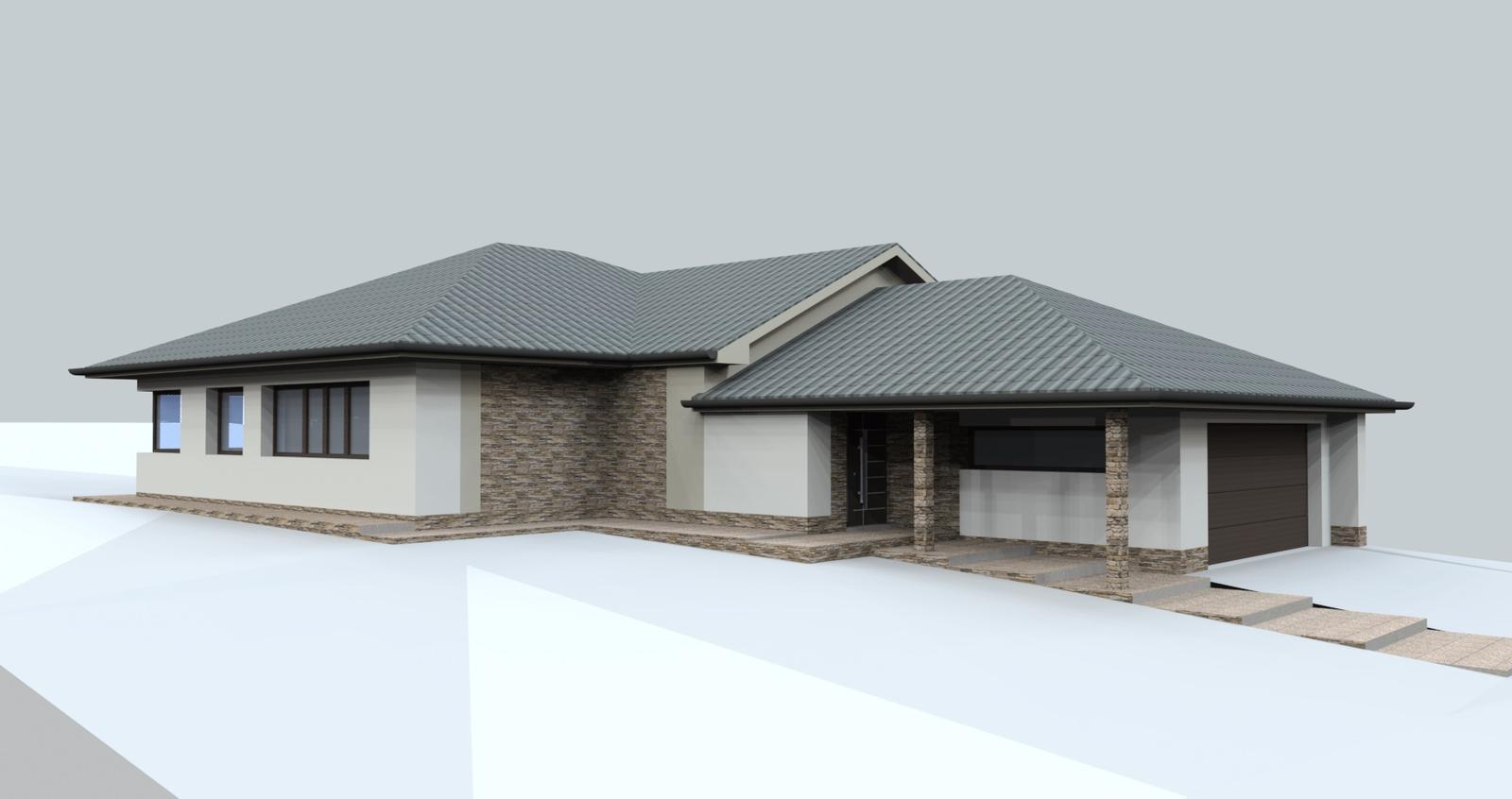 Prebiehajuce projekty - Návrh fasády na rodinnom dome a návrh chodníkov