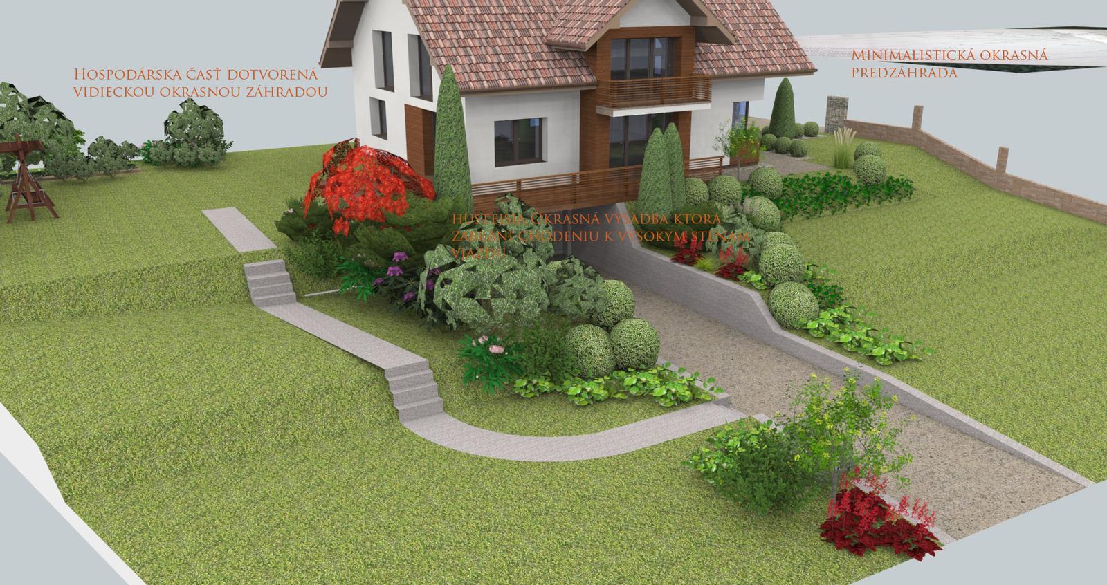 Prebiehajuce projekty - Návrh fasády, záhrady a chodníkov