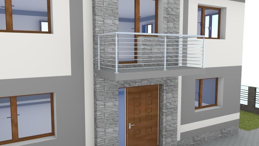Návrh fasády s oplotením - Na vyžiadanie je možné vo vizualizáciách vyskúšať niekoľko možných variánt zábradlí balkónov alebo oplotení.