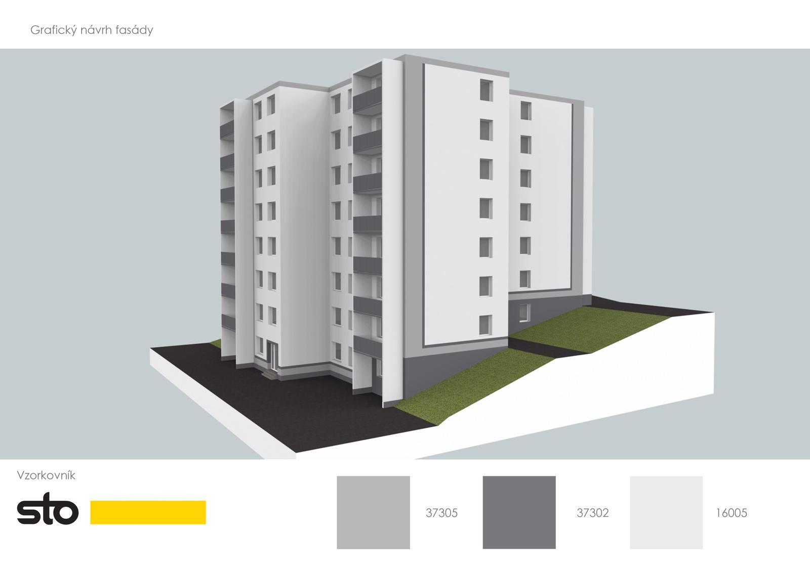 Prebiehajuce projekty - Finálny návrh fasády vybraný obyvateľmi domu.
