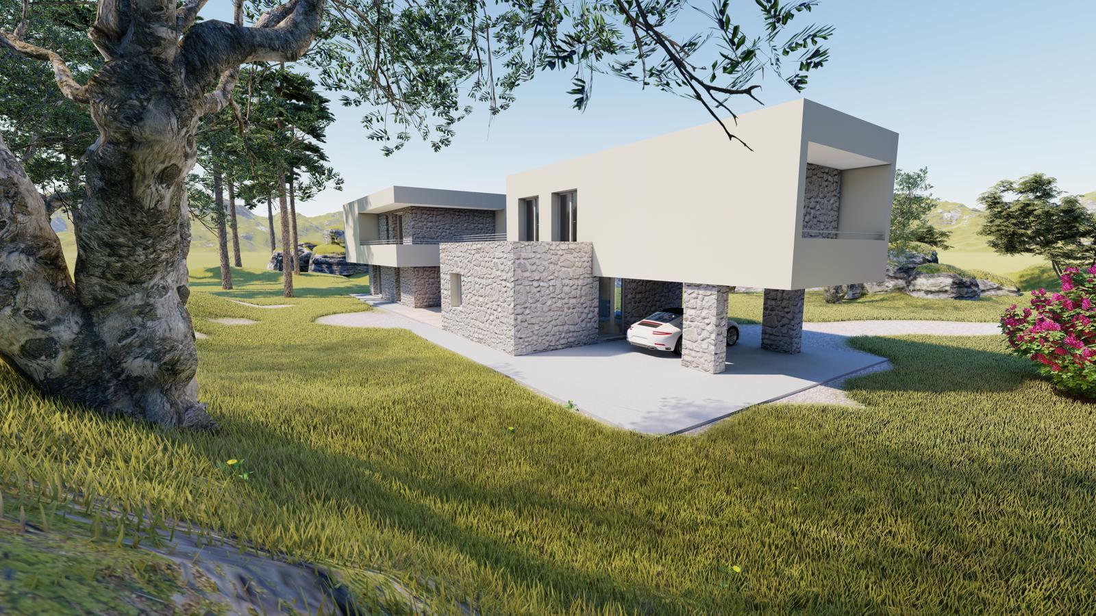 Návrh fasády rodinného domu v Chorvátsku - Obrázok č. 1