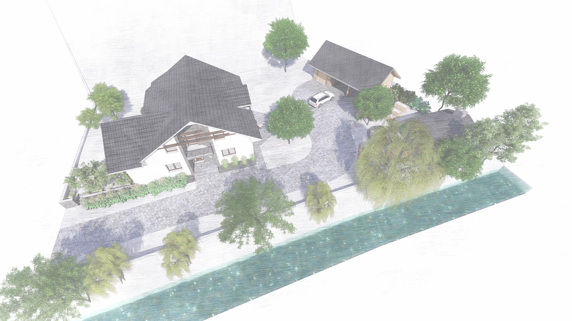 Návrh fasády, oprotenia, chodníkov a záhrady rodinného domu - Obrázok č. 31