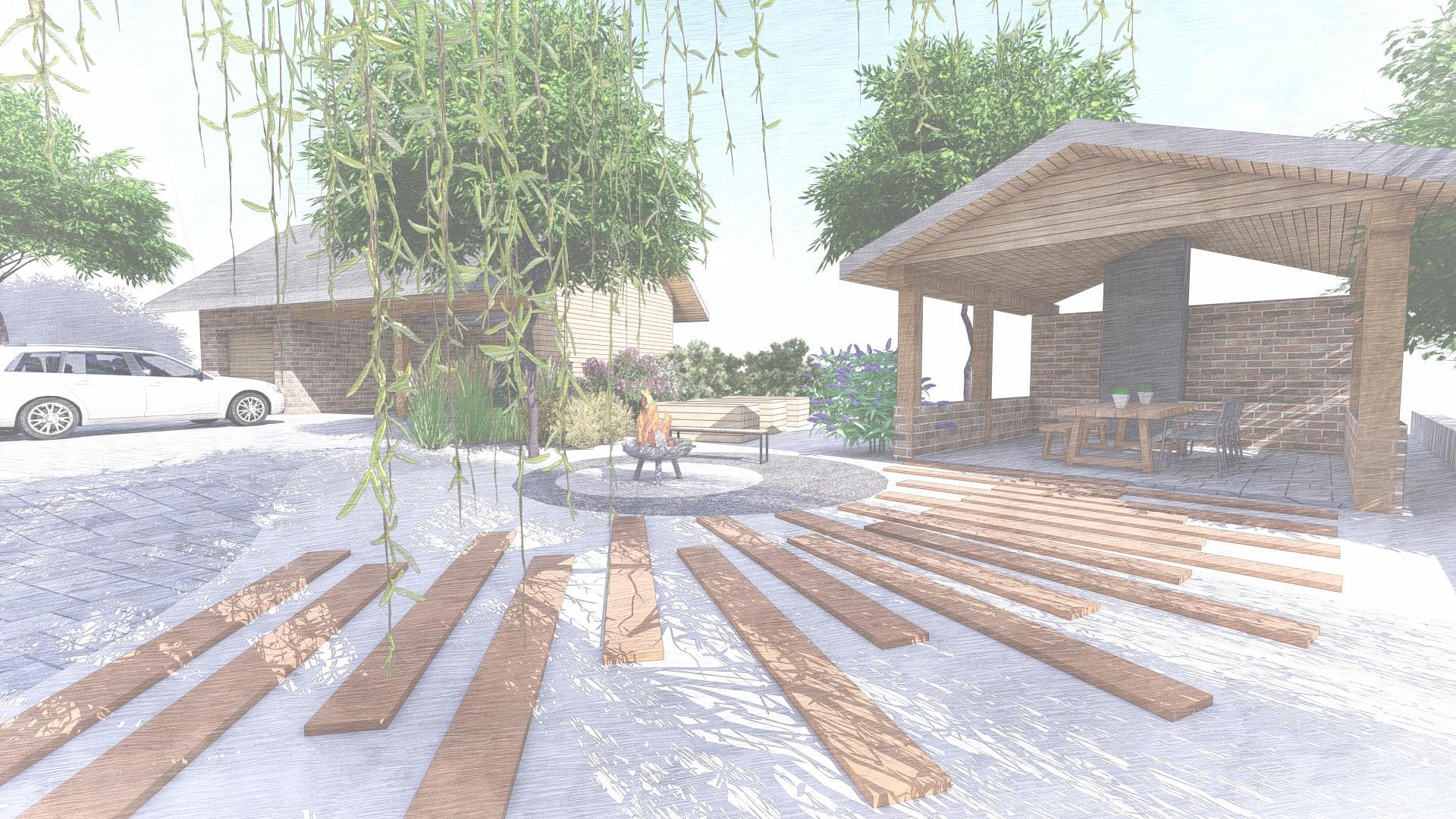 Návrh fasády, oprotenia, chodníkov a záhrady rodinného domu - Obrázok č. 38