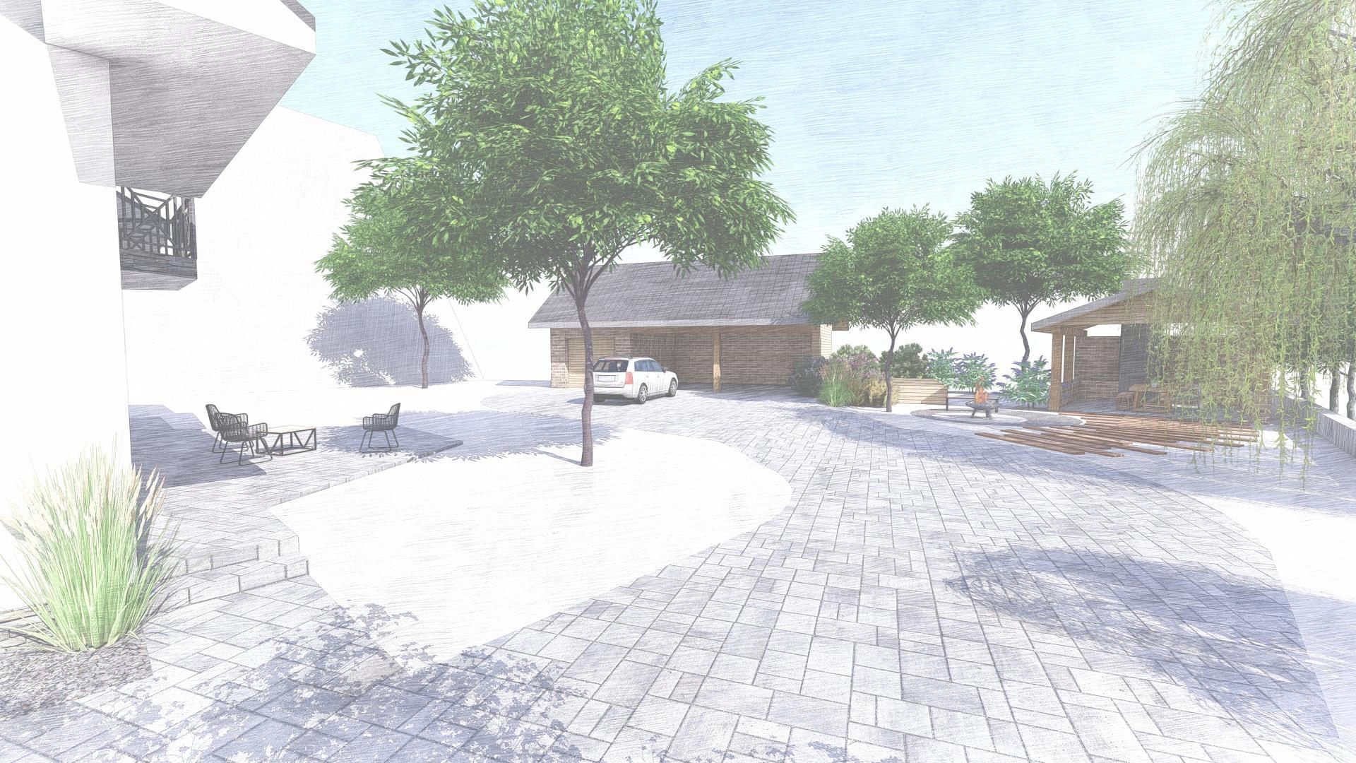 Návrh fasády, oprotenia, chodníkov a záhrady rodinného domu - Obrázok č. 34