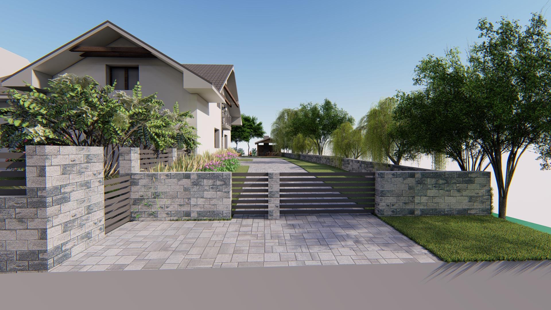 Návrh fasády, oprotenia, chodníkov a záhrady rodinného domu - Obrázok č. 12