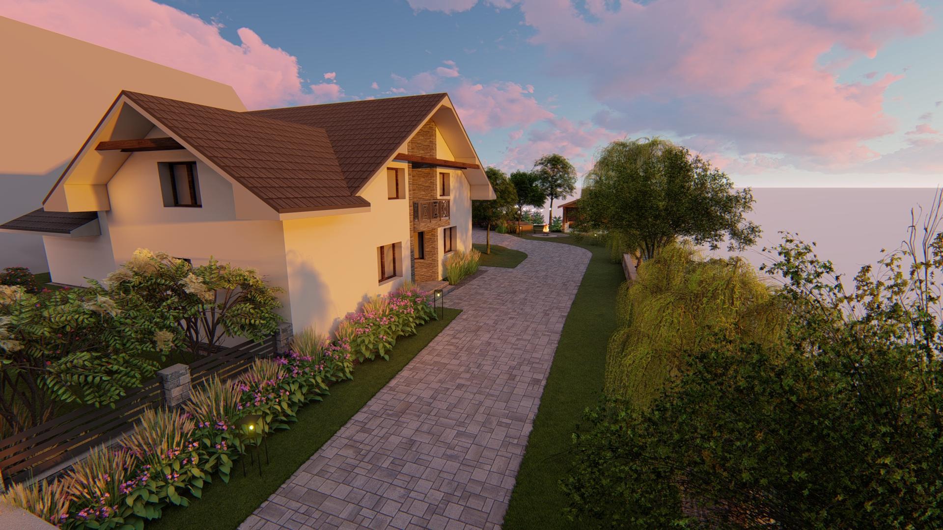 Návrh fasády, oprotenia, chodníkov a záhrady rodinného domu - Obrázok č. 8