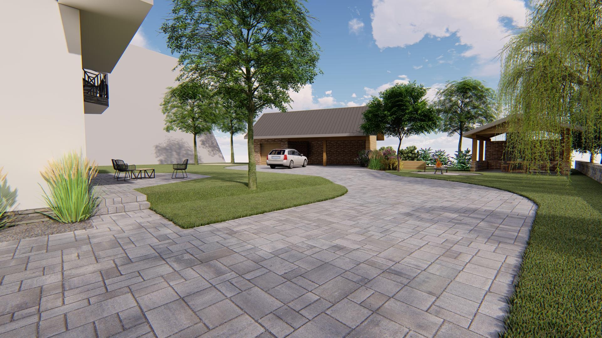 Návrh fasády, oprotenia, chodníkov a záhrady rodinného domu - Obrázok č. 5
