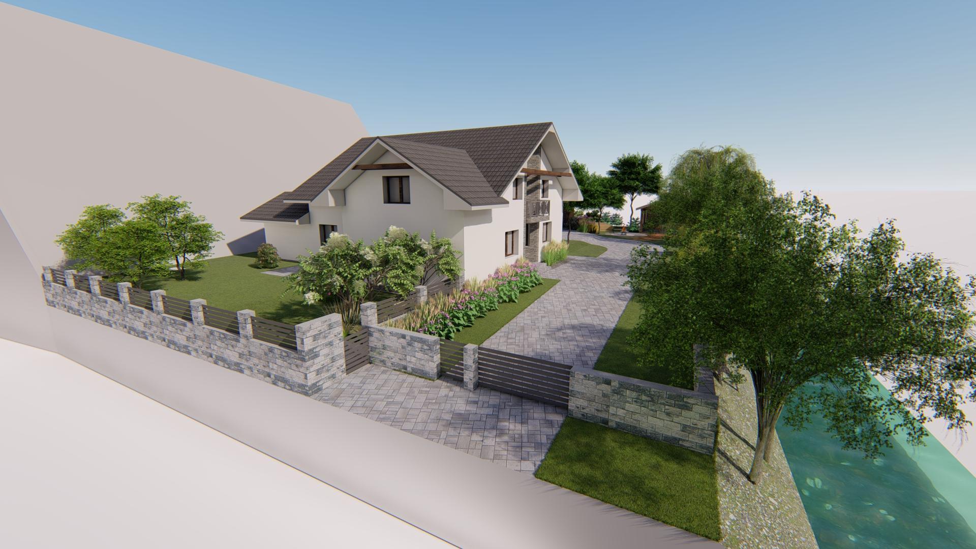 Návrh fasády, oprotenia, chodníkov a záhrady rodinného domu - Obrázok č. 11