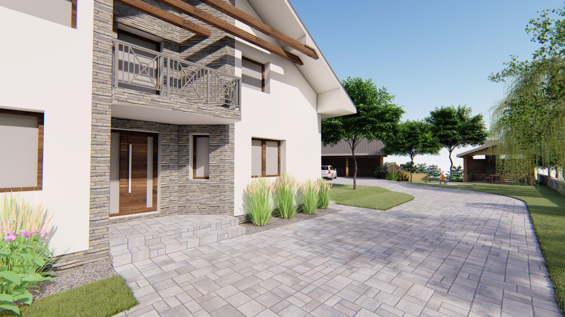 Návrh fasády, oprotenia, chodníkov a záhrady rodinného domu - Obrázok č. 7