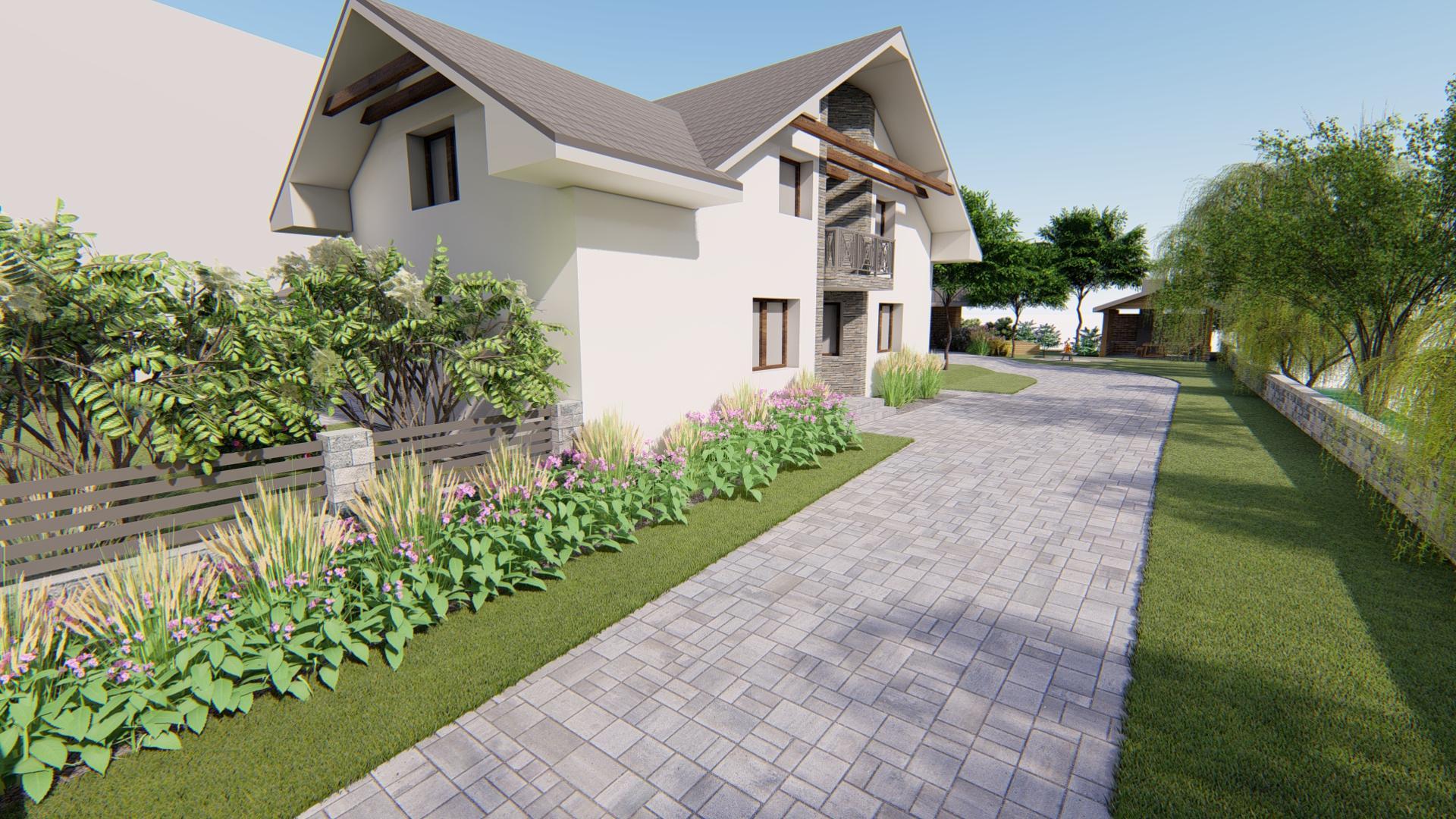 Návrh fasády, oprotenia, chodníkov a záhrady rodinného domu - Obrázok č. 10