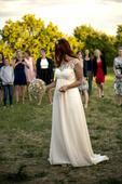 Pastelově meruňkové vílí šaty, 36