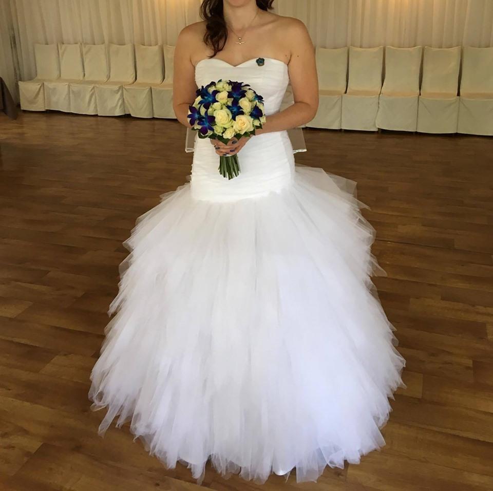 Svatební šaty se sešikmeným sedem  vel. 36-40 - Obrázek č. 1