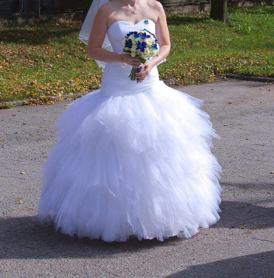 Svatební šaty se sešikmeným sedem  vel. 36-40 - Obrázek č. 2