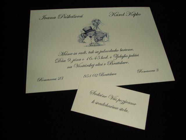 Nasa svadba - nase oznamenie a pozvanka