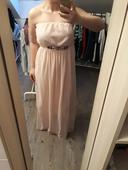 Dlouhé růžové šaty bez ramínek, 40