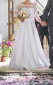 ľahké saténové svadobné šaty, 36