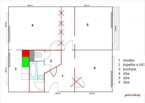 Najväčšie zmeny - z pôvodných 7 dverí v chodbe máme 3, zväčšená kúpelňa na úkor chodbičky a predsiene, posunutá priečka v obývačke, kde máme aj jedálenský stôl..